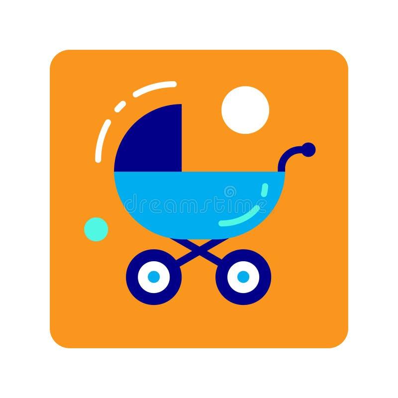 Плоский pram значка цвета Концепция поставок младенца, корабль Прогулка снаружи иллюстрация вектора