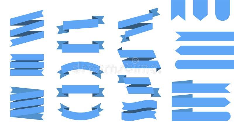 Плоскими предпосылка лент вектора изолированная знаменами Синь ленты покрасила Установленные ленты или знамена r иллюстрация вектора