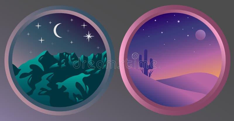 2 плоских ландшафта ночи с звездами и луной стоковая фотография
