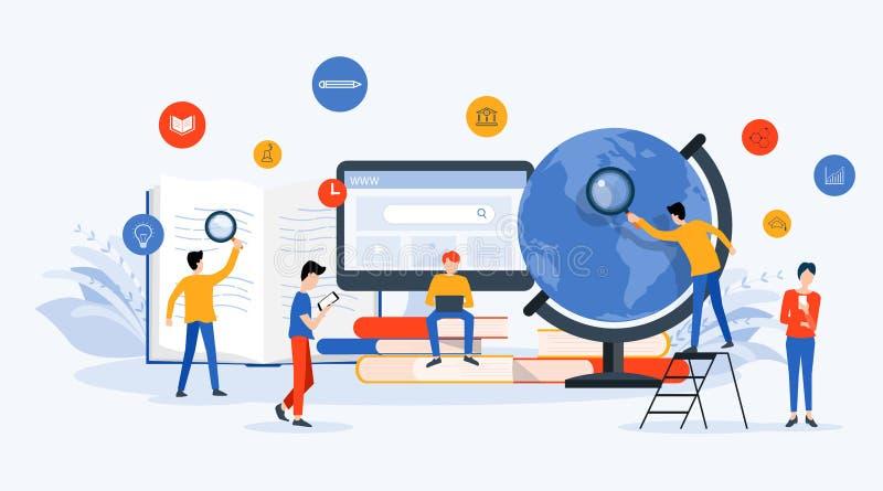 Плоское бизнес-исследование технологии иллюстрации вектора, учить и онлайн концепция образования иллюстрация штока