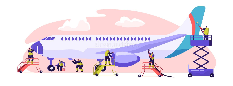 Плоское знамя обслуживания Техническое обслуживание самолета, осмотр и ремонт Представление задачи требуемое, что обеспечить прод иллюстрация вектора