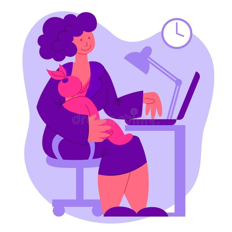 Плоское изображение вектора матери с младенцем кормя грудью на месте службы бесплатная иллюстрация