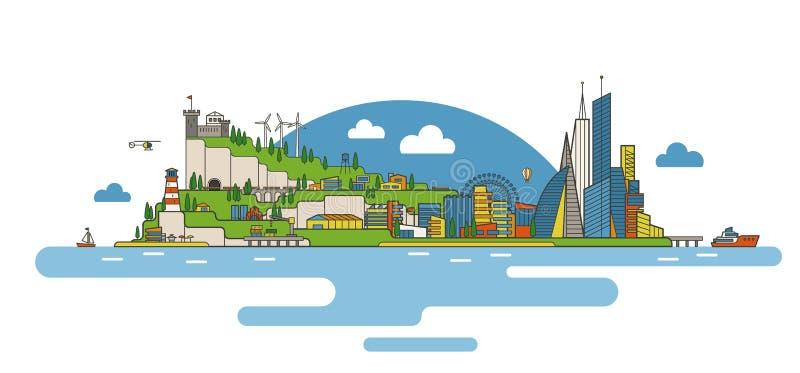 Плоское изображение города иллюстрация вектора