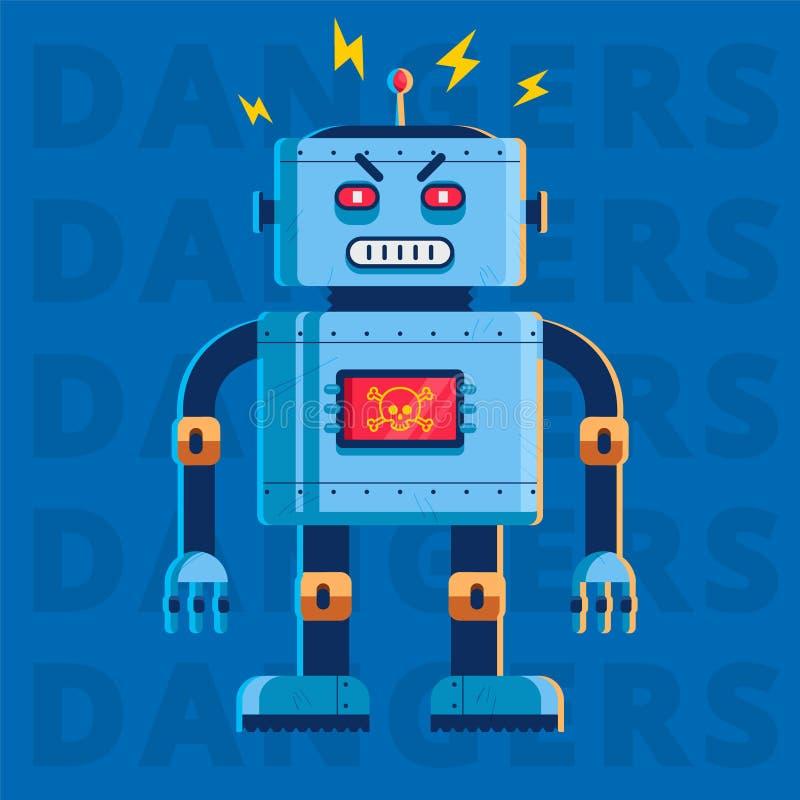 Плоское изображение злого робота убийцы он очень сердит иллюстрация вектора