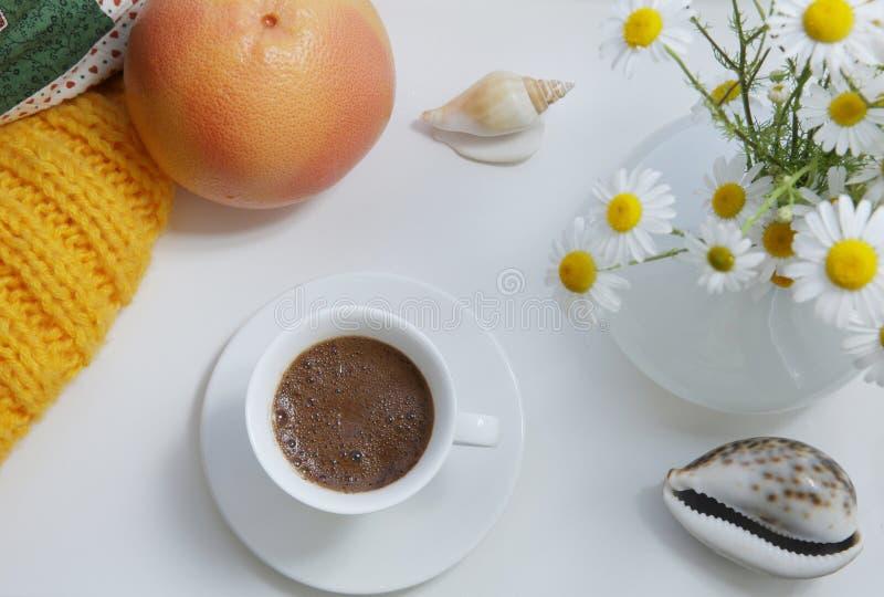 Плоское положение, белая чашка кофе и оранжевые цветки грейпфрута и белых маргаритки на белой предпосылке с элементами дизайна стоковая фотография rf