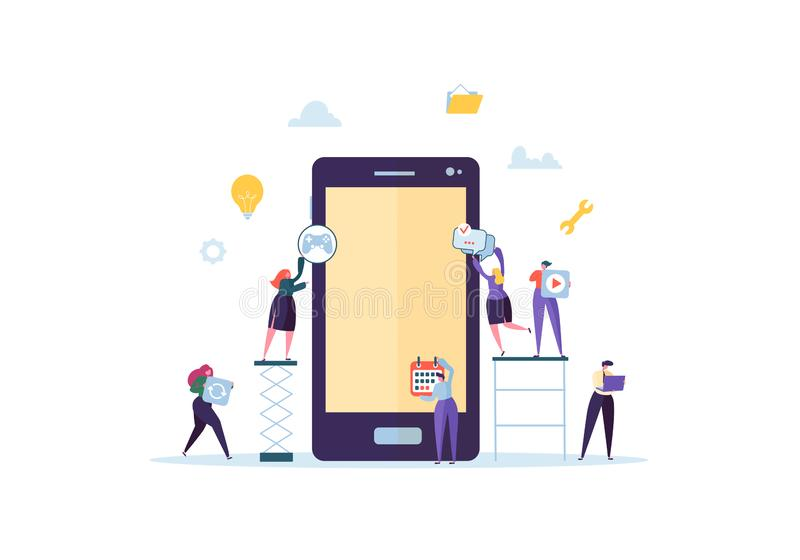 Плоское применение здания характеров людей передвижное с значками на экране Smartphone Концепция развития Wireframe иллюстрация штока