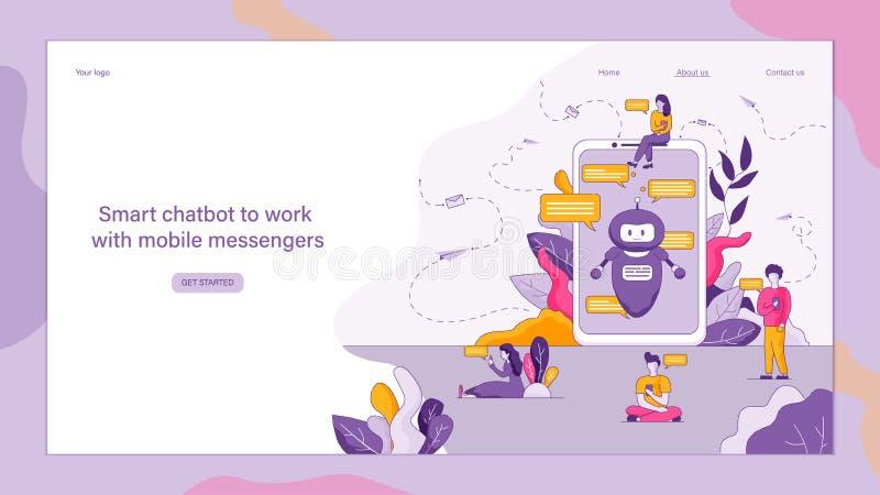Плоское умное Chatbot, который нужно работать с мобильными посыльными иллюстрация вектора