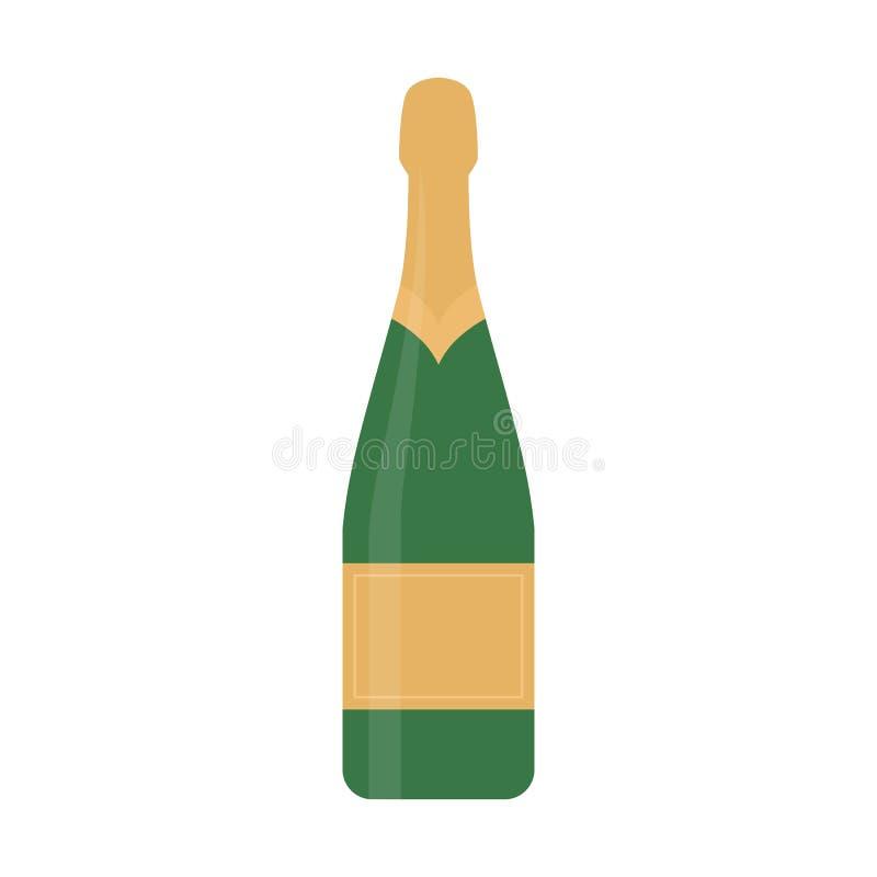 Плоское шампанское значка иллюстрация штока