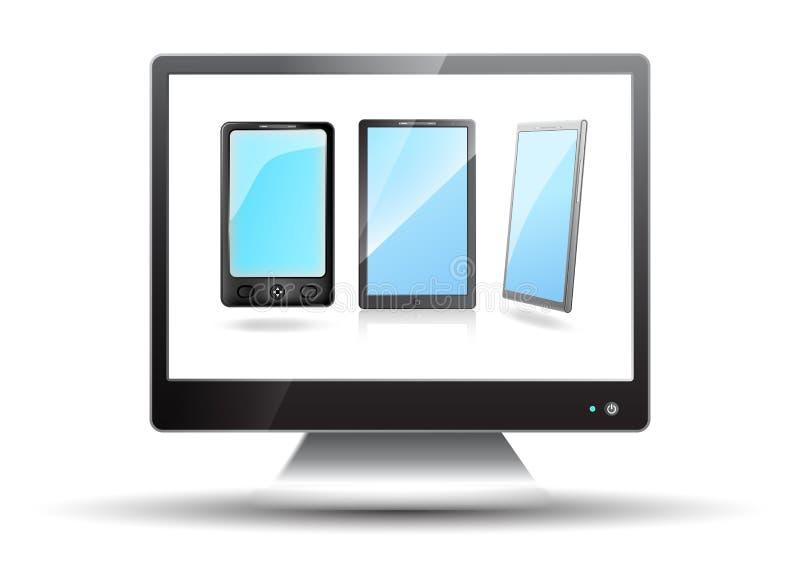 Плоское экран tv с мобильными телефонами иллюстрация штока