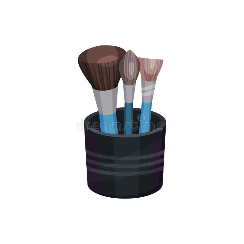 Плоское vectoe установило 3 различных профессиональных щеток макияжа в небольшой черной чашке косметические инструменты Индустрия иллюстрация вектора