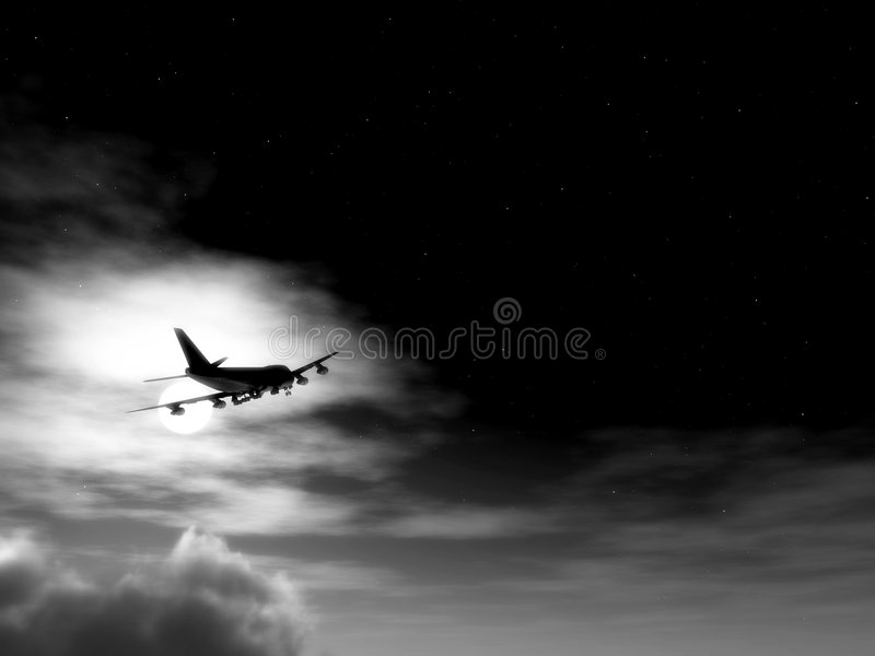 Плоскость в полете на ночу 11 стоковые изображения rf