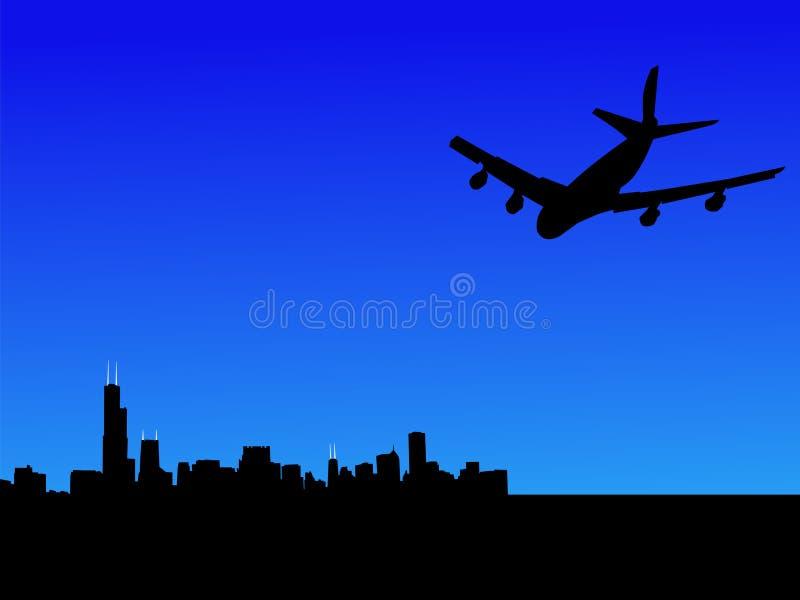 плоскость летания chicago к иллюстрация вектора