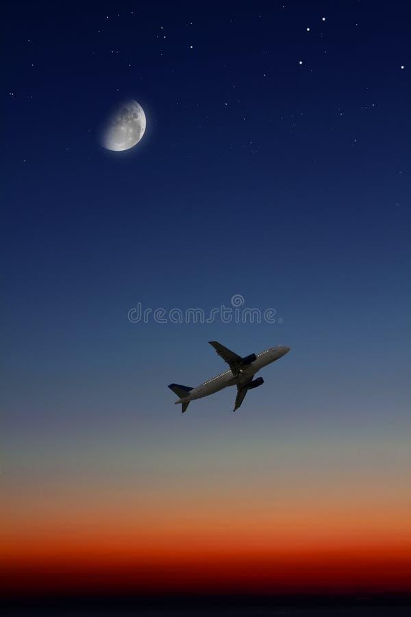 плоскость ночи стоковые изображения rf