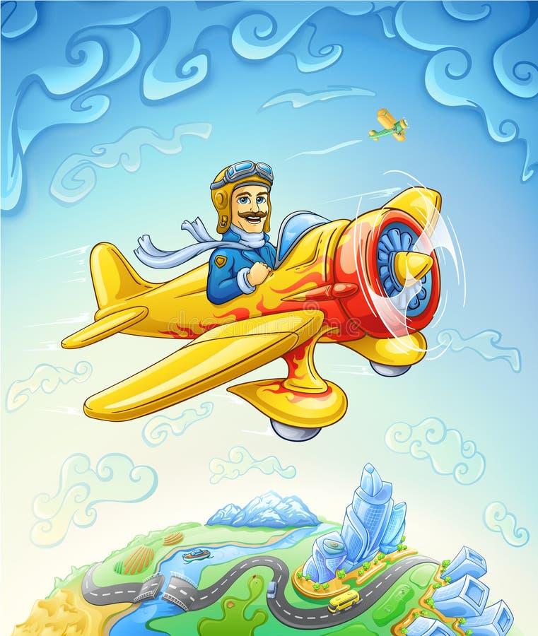 Плоскость шаржа с пилотным летанием над землей иллюстрация штока