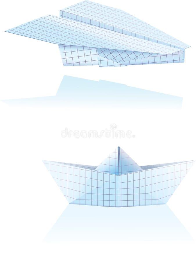 плоскость шлюпки бумажная иллюстрация штока