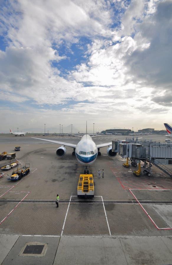 плоскость Hong Kong pacific cathay авиапорта стоковое изображение rf