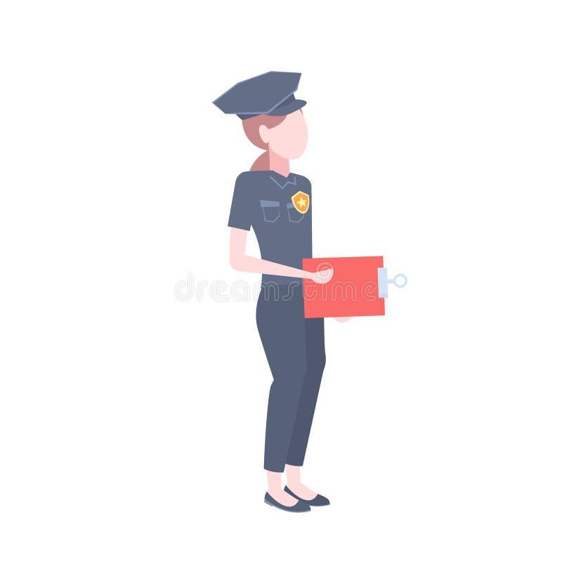 Плоско изолированный персонаж из мультфильма доски сзажимом для бумаги удерживания охранника полисмена значка женщины полиции жен иллюстрация вектора