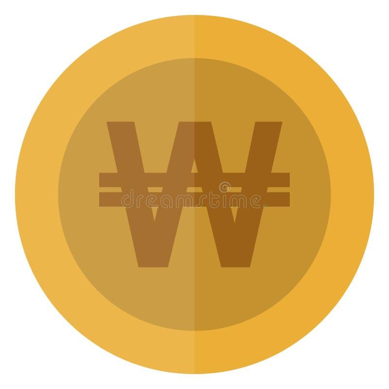 Плоско корейская выигранная монетка валюты круглая ashurbanipal Валюта казино, играя в азартные игры монетка, иллюстрация вектора иллюстрация вектора