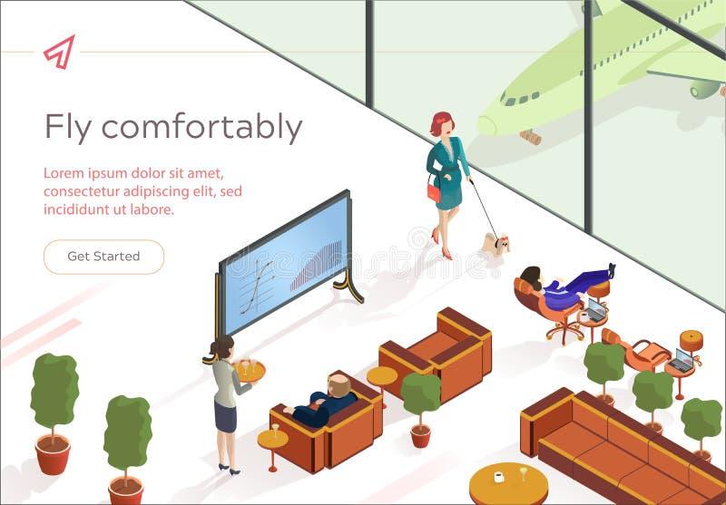 Плоско летите удобно гостиная первого класса равновеликая иллюстрация вектора