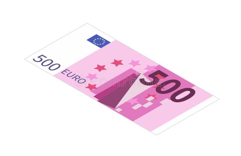 Плоско 5 сотен банкноты евро в равновеликом взгляде на белизне иллюстрация вектора