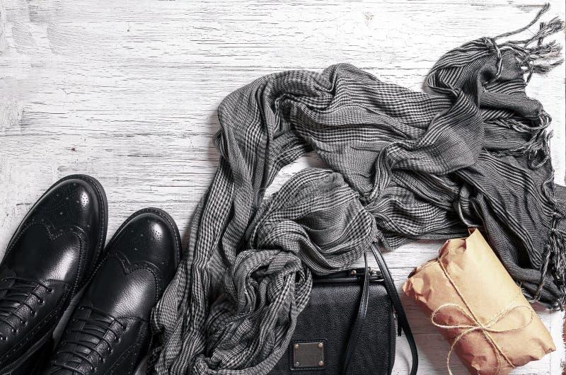Плоск-положение одежд ` s дамы осени стоковые фотографии rf
