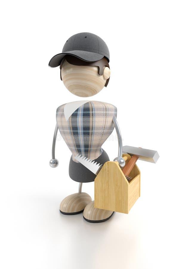 плотник стоит инструменты иллюстрация штока