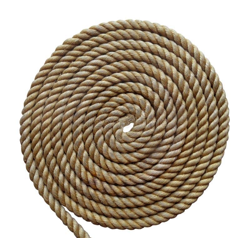 Плотно свернутая спиралью тяжелая изолированная веревочка стоковая фотография