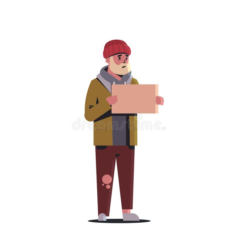 Плохой бородатый человек умоляя для предпосылки бездомной безработно иллюстрация штока