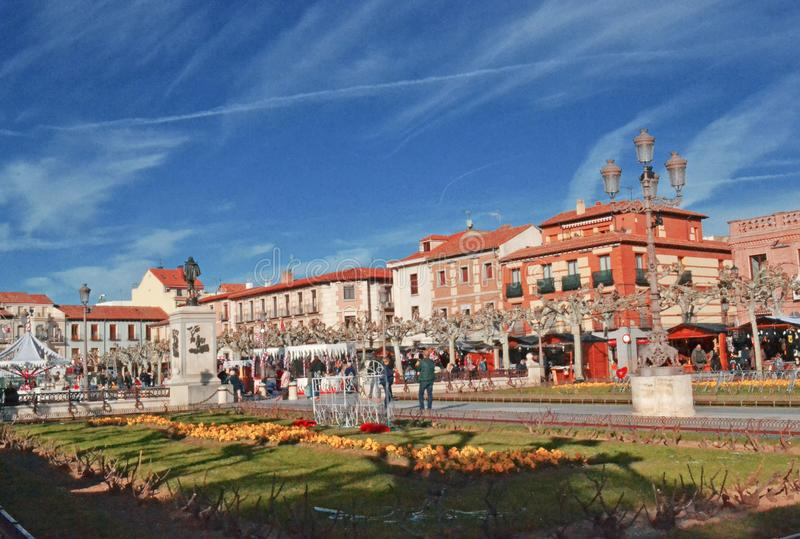 Площадь Cervantes в Alcala de Henares, Испании стоковое изображение rf