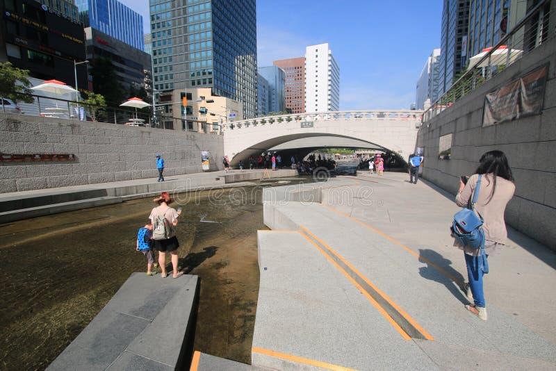 Площадь cheonggye реки Сеула стоковые фотографии rf