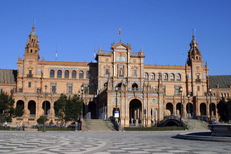 площадь seville de espana стоковое фото rf