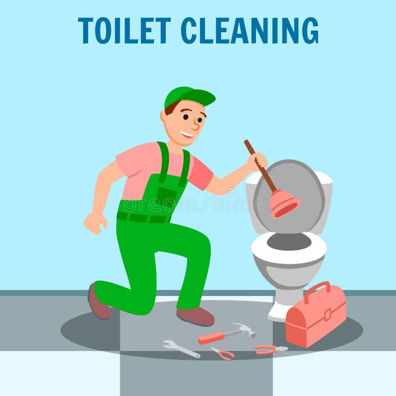 Плунжер водопроводчика человека в туалете ремонта руки иллюстрация штока