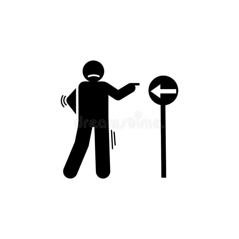 Плутовка, ложь, лежа, значок человека Элемент отрицательного значка черт характера Наградной качественный значок графического диз иллюстрация штока