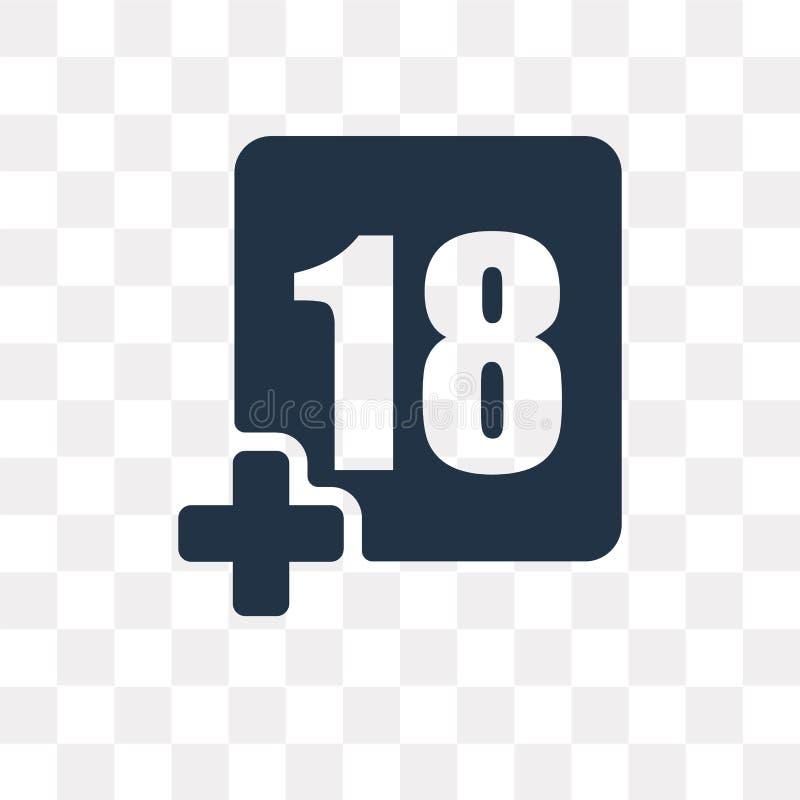 Плюс значок вектора 18 кино изолированный на прозрачной предпосылке, Pl бесплатная иллюстрация