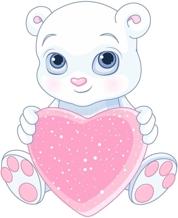 Плюшевый медвежонок держит сердце бесплатная иллюстрация