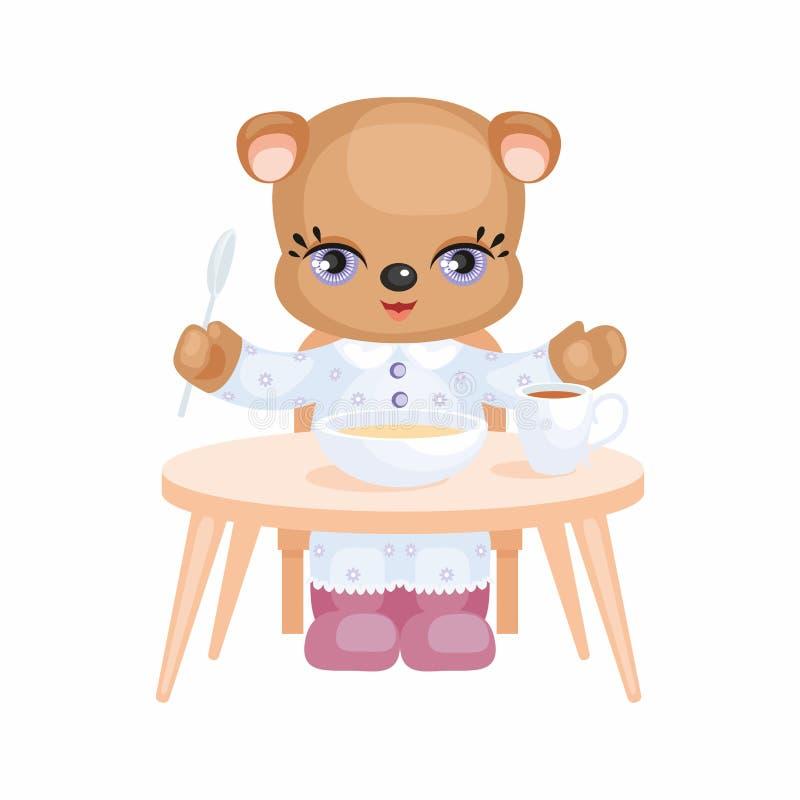 Плюшевый медвежонок ест бесплатная иллюстрация