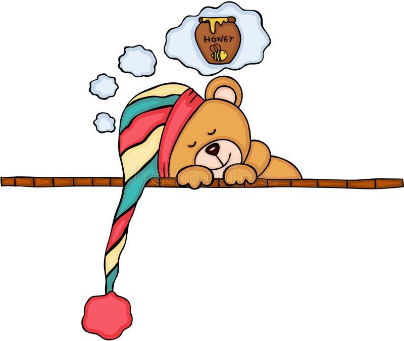 Плюшевый медвежонок мечтая улей вполне меда иллюстрация штока