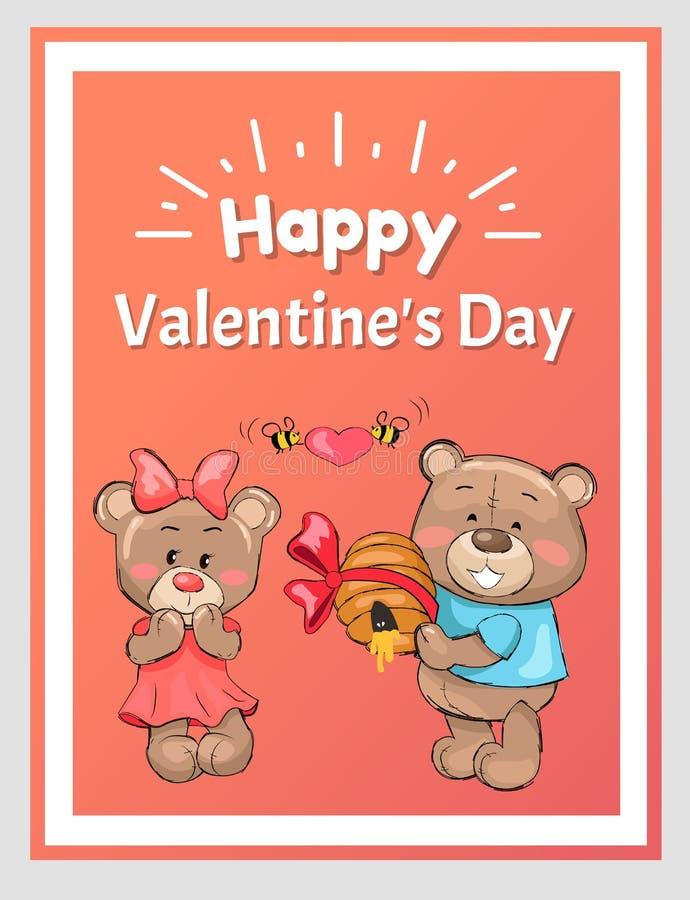 Плюшевый медвежонок счастливых валентинок мужской держит мед крапивницы бесплатная иллюстрация
