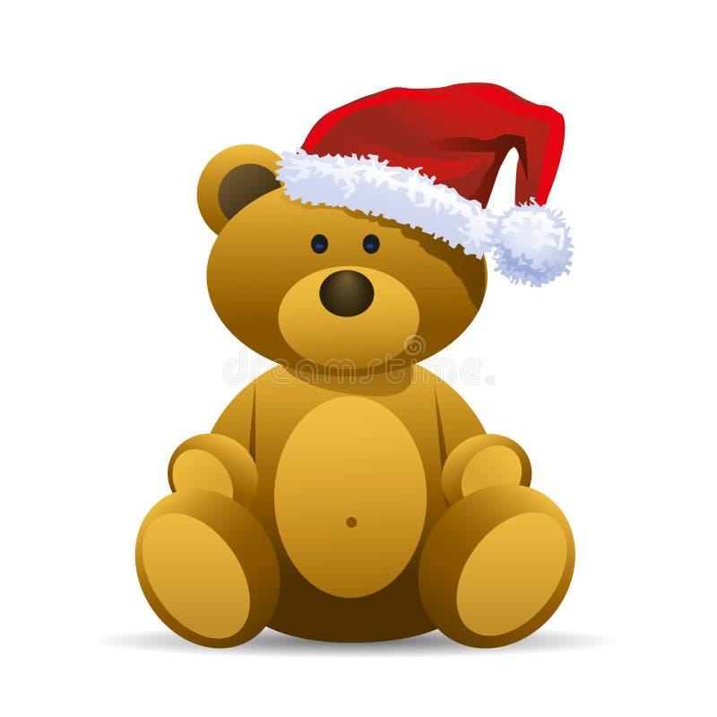 Плюшевый медвежонок с красным шлемом Санта иллюстрация вектора