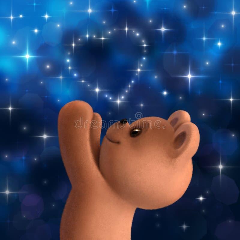 Плюшевый медвежонок с сердцем от звезд иллюстрация вектора