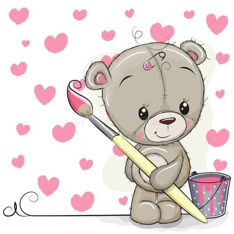Плюшевый медвежонок с щеткой рисовать сердца иллюстрация штока