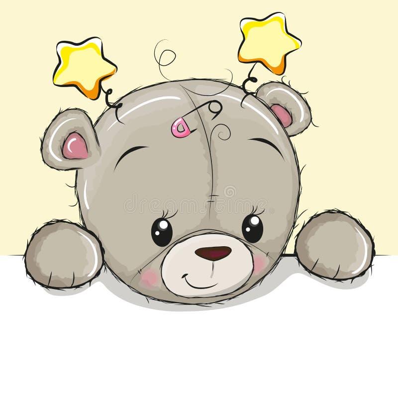 Плюшевый медвежонок чертежа на желтой предпосылке иллюстрация штока