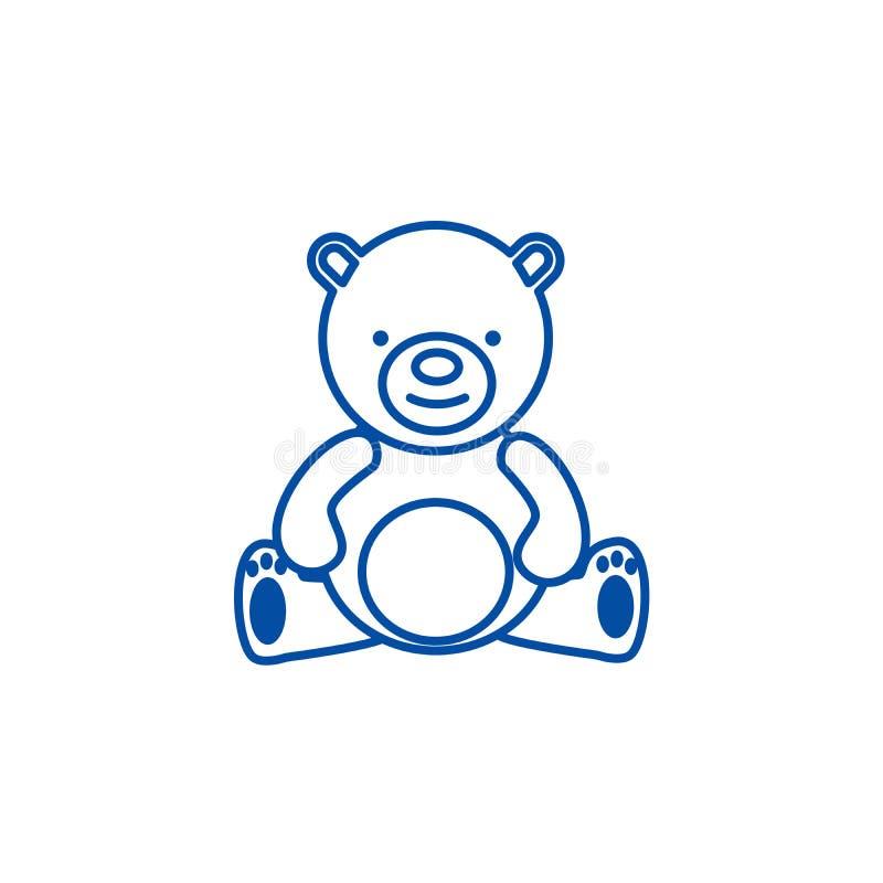 Плюшевый мишка, линия концепция игрушки значка Плюшевый мишка, символ вектора игрушки плоский, знак, иллюстрация плана бесплатная иллюстрация