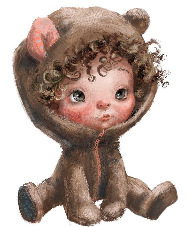 Плюшевый мишка мультфильма - ребенок с завитыми волосами стоковые фотографии rf