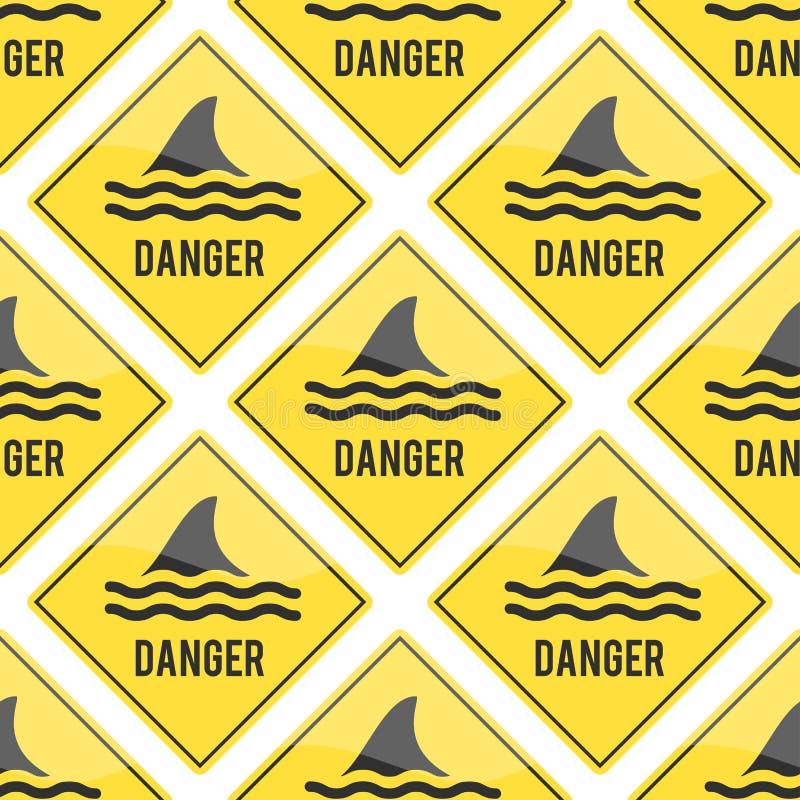 Пляжа воды кнопки значка знака вектора флиппера ребра акулы внимания акула опасного serfing предупреждая желтый знак бесплатная иллюстрация