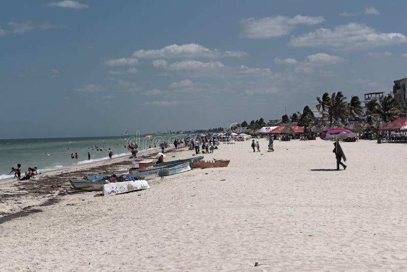 Пляжное Progreso в севере Мериды, Юкатан, Мексика стоковые фото