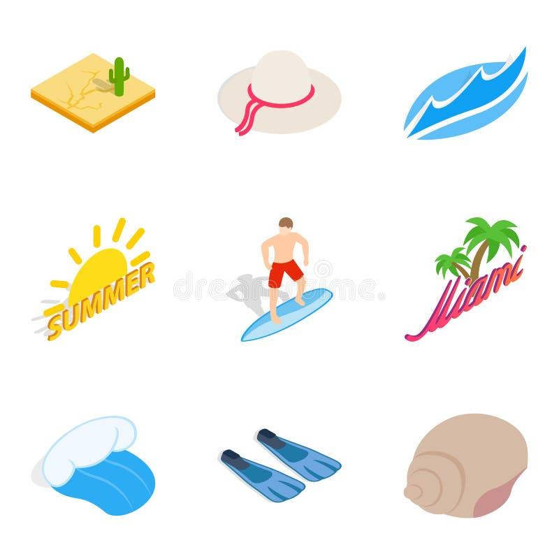 Пляжные установленные значки, равновеликий стиль иллюстрация вектора