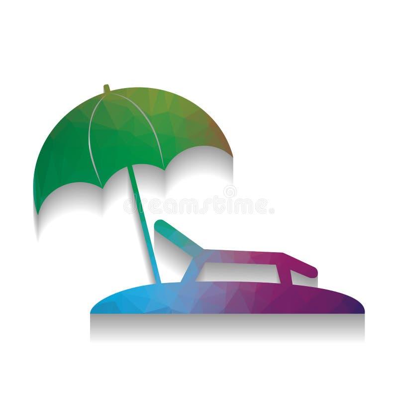 пляжный комплекс тропический Знак стула Sunbed вектор цветастая икона бесплатная иллюстрация