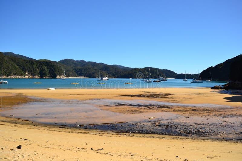 Пляж Анкоридж национального парка Abel Tasman стоковые изображения rf