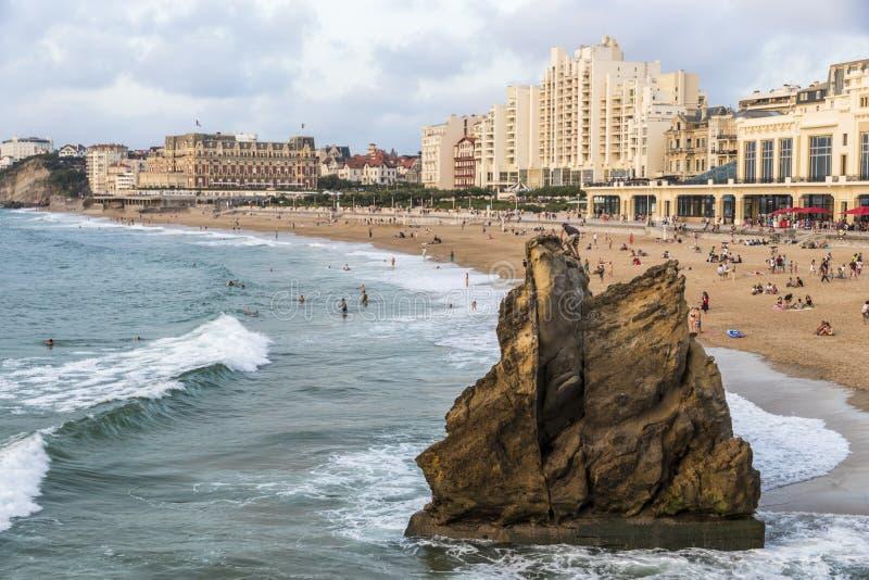 Пляж Биаррица, Франция стоковые изображения